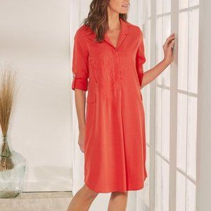 Soft Surroundings Coral Tencel Shirtdress Dress M